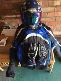 Motorcycle RST jacket , helmet and gloves