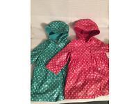 Two fleece lined M&S girls mac 12-18 months green polka dot and pink polka dot