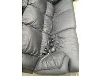 3 seater black reclining leather sofa no rips in good condition *still available*