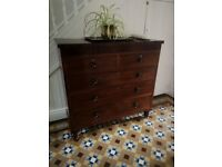 antique hardwood (mahogany coloured) chest of drawers