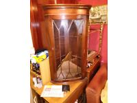 Early 20th century hanging corner display cabinet / bookcase