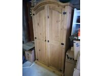Pine bedroom set - double bed, wardrobe and bedside table