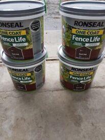 Ronseal dark oak fence paint - 4 x 5l tubs