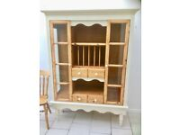 Attractive Pine and antique white Painted Country style Dresser / display unit