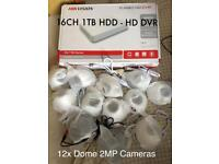 CCTV Hikvision DVR 16CH 1TB HDD 12 DOME Cameras 2MP + Monitor RRP 890