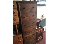 Beautiful Vintage Tallboy Tall Slimline Hardwood Chest of 7 Drawers Storage