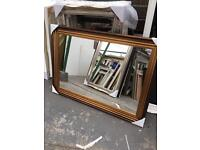 "large ribbed gold framed mirror 42""x30"""