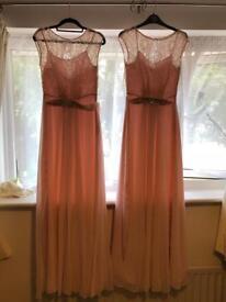 Baby pink coast bridesmaids dresses