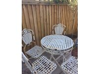 Shabby Chic cream metal Bistro table and 4 chairs