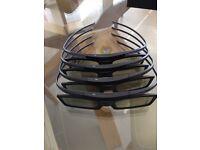 4 pairs genuine 3D glasses for Samsung TVs.