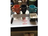 Mugs, tray & dishes for sale