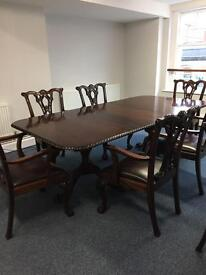 Reproduction mahogany dining table chairs & 6 heavy chairs