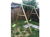 Plum Pleasure Wooden Swing Set