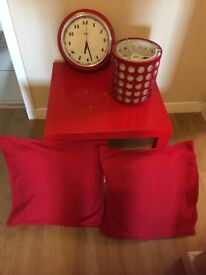 Red clock, lampshade, table and cushion set only £20