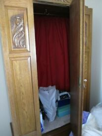 Vintage SOLID OAK wardrobe with bevelled centre mirror in fantastic condition with key.