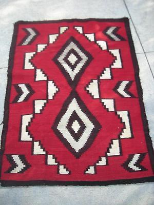 VINTAGE NAVAJO INDIAN RUG BOLD RED GANADO -LOTS OF LAZY LINES - NR !