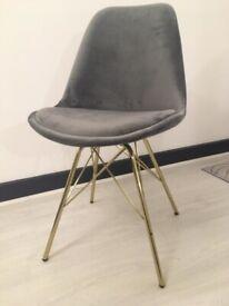 Set of 6 Lovely Grey Velvet Chairs