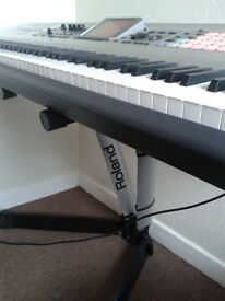 Roland fantom X8 Workstation/Keyboard, 2 Yamaha HS.50 M speakers, Roland Heavy Duty Gig Stand