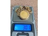 Gold necklace fully hallmarked 9k&24k 30g all toget