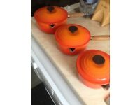 Le Creuset Cast Iron Saucepans - Volcanic Orange