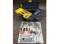 Stanley tool box with wide selection of tools and sockets