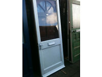 Exterior door with large clear glass panel