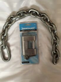 Welded security chain and brand new lock