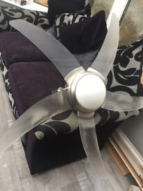 Ceiling fan large light - remote control -£50