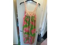 lovely summer dress bright pink and green