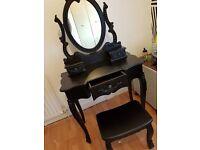 Toulouse Vintage Black Dressing Table Set Shabby Chic