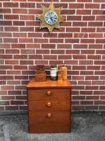 Vintage STAG CANATATA Teak Bedside Drawers Lamp Stand Mid Century Retro 70s