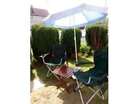 Garden folding chairs 2 of with adjustable parasol and stand also small folding table