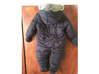 Mothercare Navy Blue Quilted Snowsuit UK 6-9 month in excellent condition