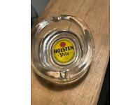 Vintage Holsten Pils Heavy Glass Oval Ash Tray Retro Man Cave / Home Bar Item