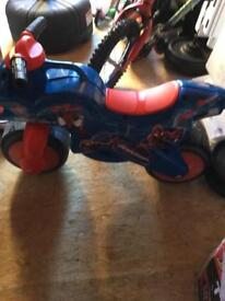 Wee plastic spider man bike