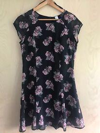 H&M Floral Tea Dress, Size 12/14