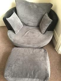 Grey and black swivel chair