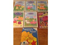 Peppa pig, spot and Barney dvds