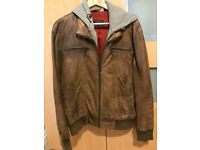 Zara Jacket With Built In Hoodie And Faux Leather XL