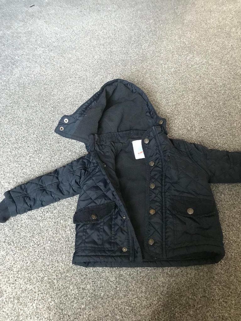 Navy quilted coat 12 - 18 Months