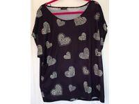 Plus Size Store21 Heart & Rhinestones Embellishment Shirt