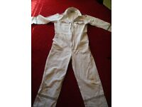 "Boilersuit, 42""R/106cm, cotton, white, used but good"
