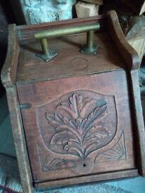 Wooden Coal Scuttle,interior brass plate intact