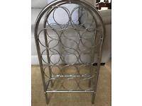 Silver chrome wine rack