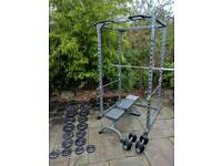 Weight cage and weight bench with weights
