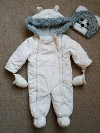 John Lewis snowsuit 6-9months and hat 6-12months