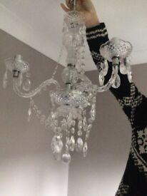 John Lewis glass and acrylic 3 arm chandelier