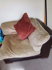 Large fabric and leather armchair