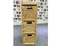 3 drawer wicker basket unit