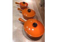 Vintage Le Crueset saucepans,
